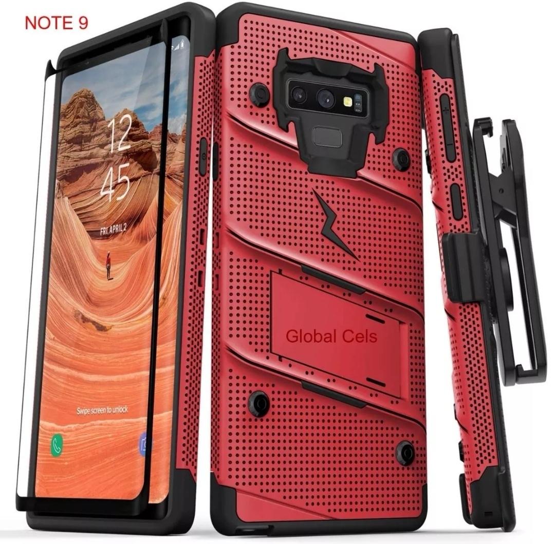 Case Galaxy Note 9 Rojo con Negro Zizo Bold c/ Vidrio Glass c/ Gancho c/ Parante Inclinable 00346