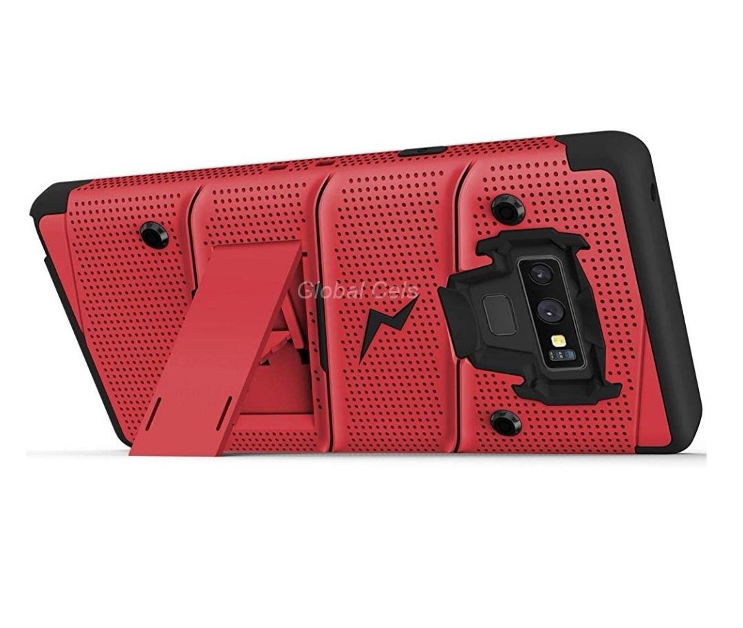 Case Galaxy Note 9 Rojo con Negro Zizo Bold c/ Vidrio Glass c/ Gancho c/ Parante Inclinable