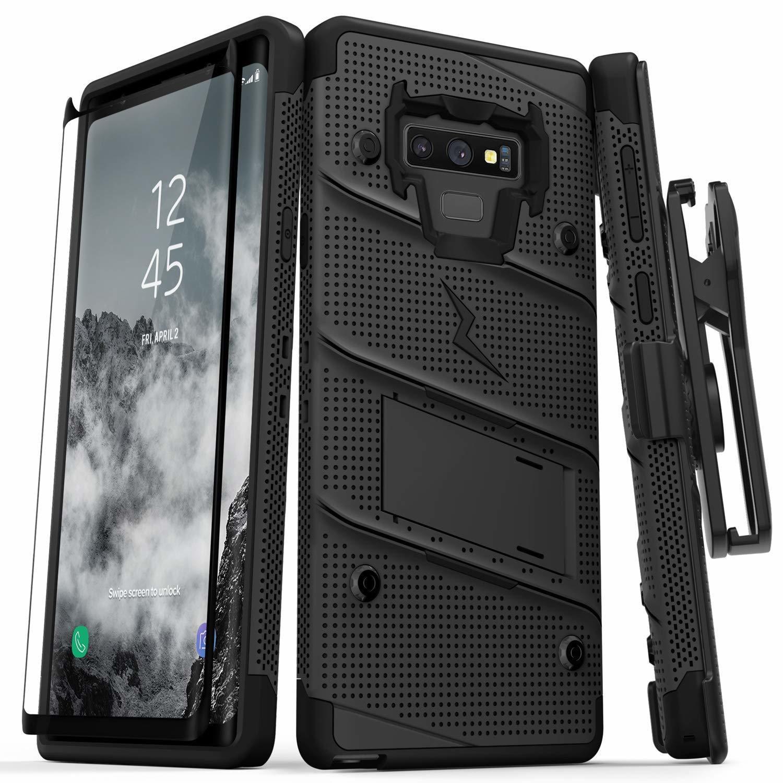 Case Galaxy Note 9 Negros c/ Vidrio Templado c/ Gancho c/ 2 parantes Zizo Z-bold 00347