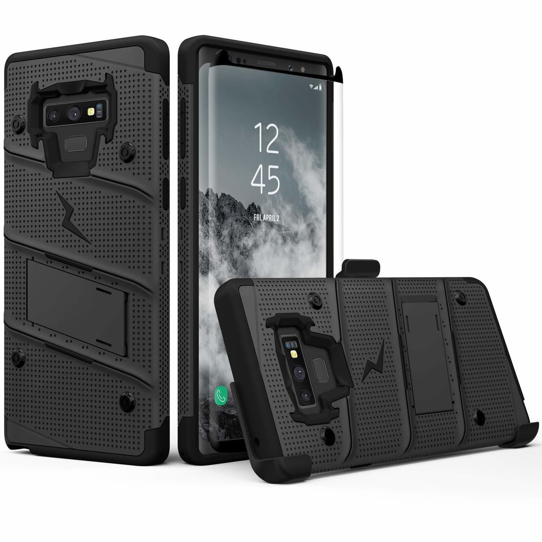 Case Galaxy Note 9 Negros c/ Vidrio Templado c/ Gancho c/ 2 parantes Zizo Z-bold