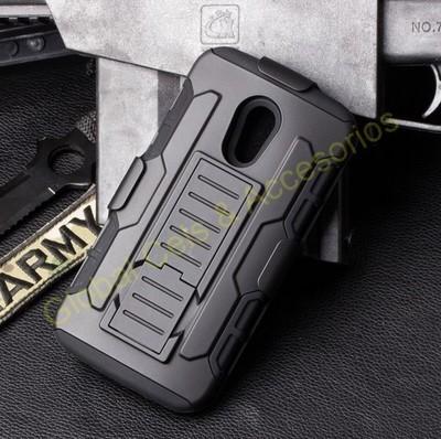 Case MOTO G2 2da Gen Carcasa Armor con gancho para correa y soporte mesa