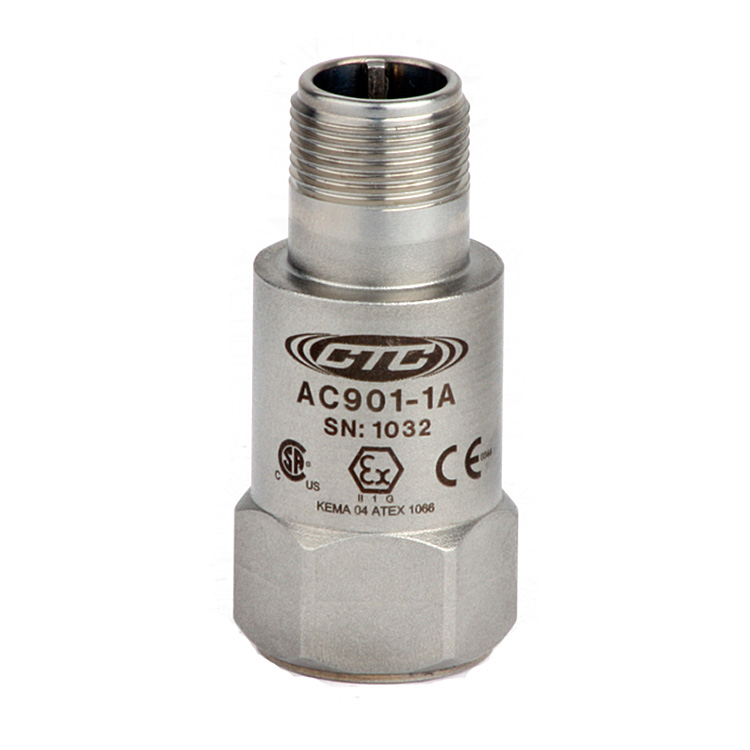 AC901 Series Intrinsically Safe Accelerometer, Top Exit Connector/Cable, 10 mV/g 00261