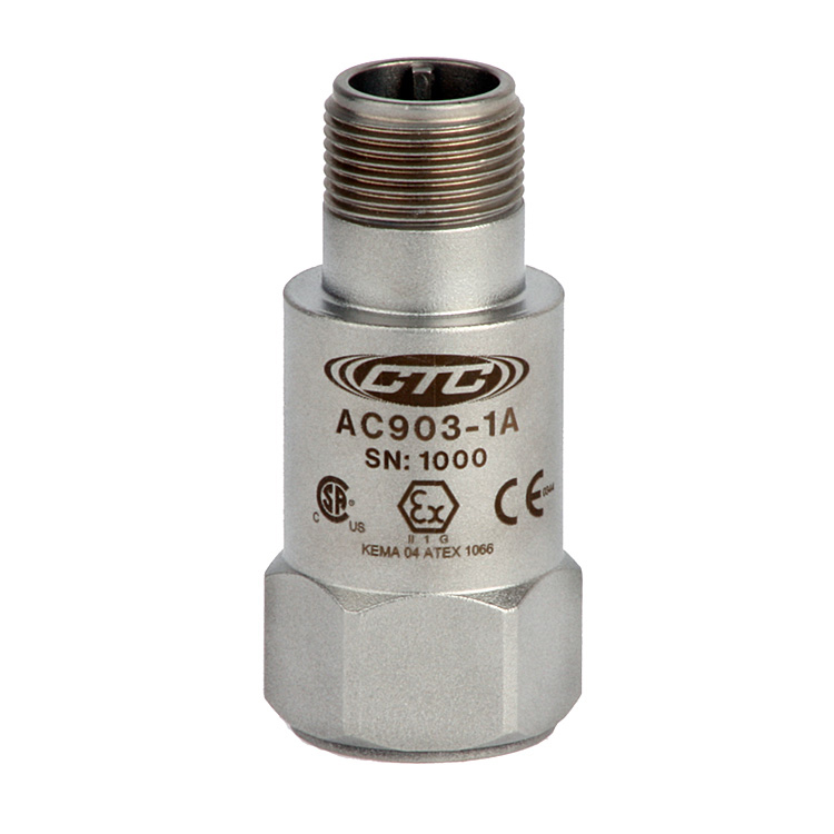 AC903 Series Intrinsically Safe Accelerometer, Top Exit Connector/Cable, 50 mV/g 00262