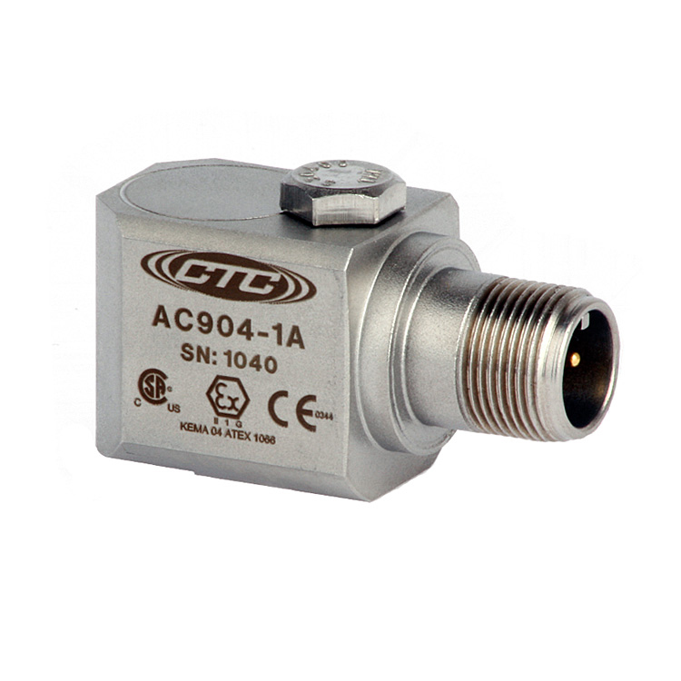 AC904 Series Intrinsically Safe Accelerometer, Side Exit Connector/Cable, 50 mV/g 00263