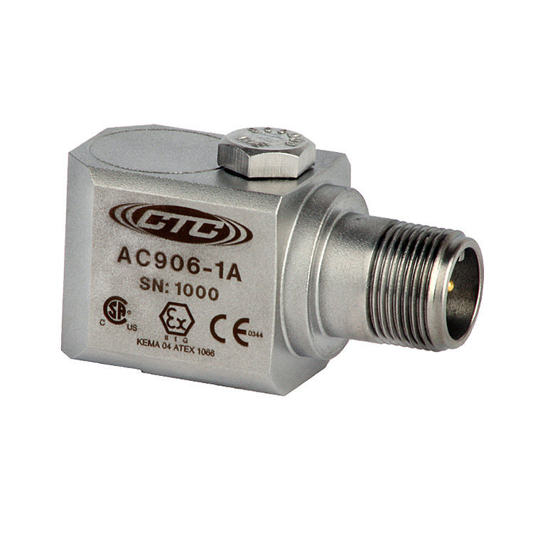 AC906 Series Intrinsically Safe Accelerometer, Side Exit Connector/Cable, 100 mV/g 00265