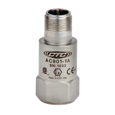 AC901 Series Intrinsically Safe Accelerometer, Top Exit Connector/Cable, 10 mV/g