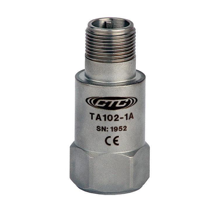 TA102 Series Dual Temperature/Acceleration Output, Top Exit Connector/Cable, 100 mV/g, 10 mV/°C