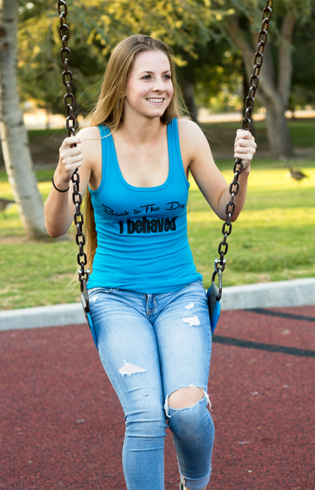 Womens Tank Top - I Behaved - Blue