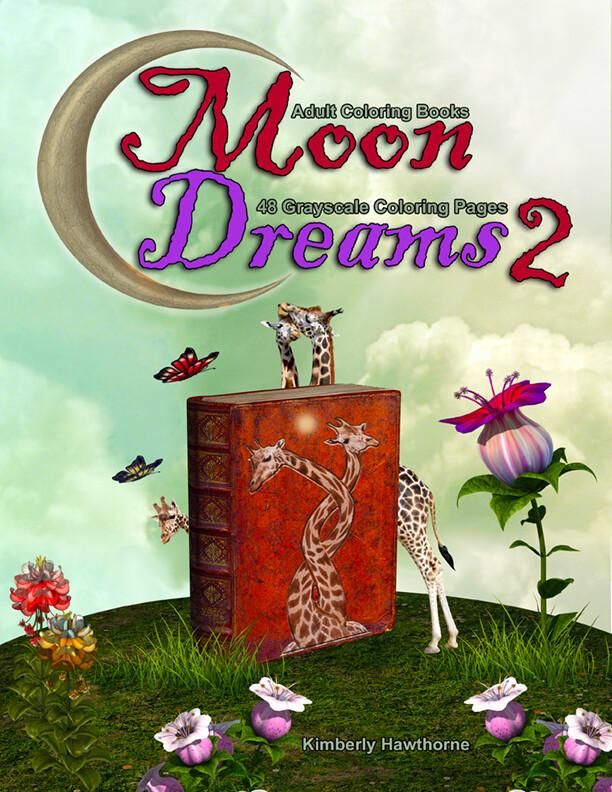 Moon Dreams 2 Grayscale Adult Coloring Book PDF Digital Download