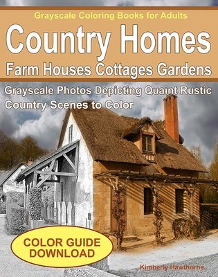 Quaint Country Homes Coloring Book for Adults Digital Download
