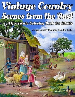 Vintage Country Scenes Coloring Book for Adults Digital Download