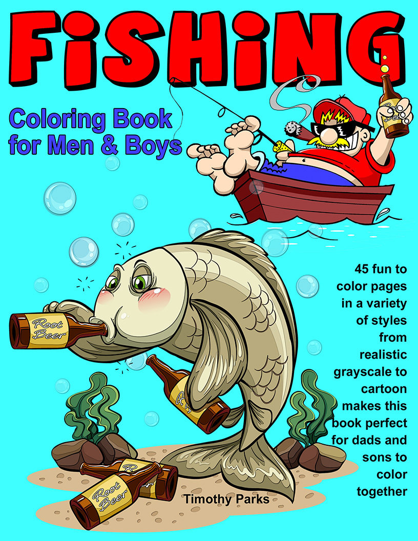 Fishing Coloring Book for Men & Boys Digital Download tpf2017