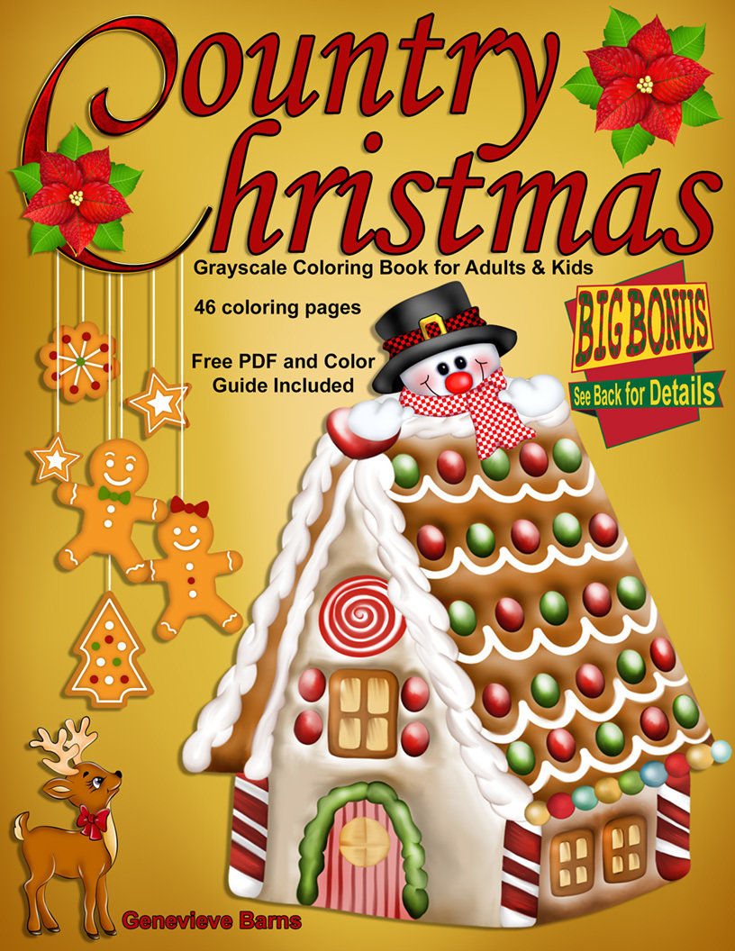 Country Christmas Coloring Book For Adults Digital Download