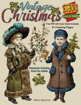 Vintage Christmas Coloring Book for Adults Digital Download