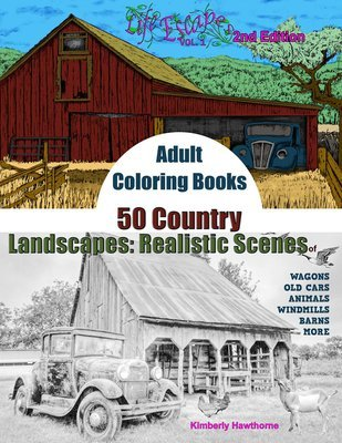 50 Country Scenes Coloring Book for Adults Digital Download