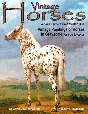 Vintage Horses Coloring Book for Adults Digital Download