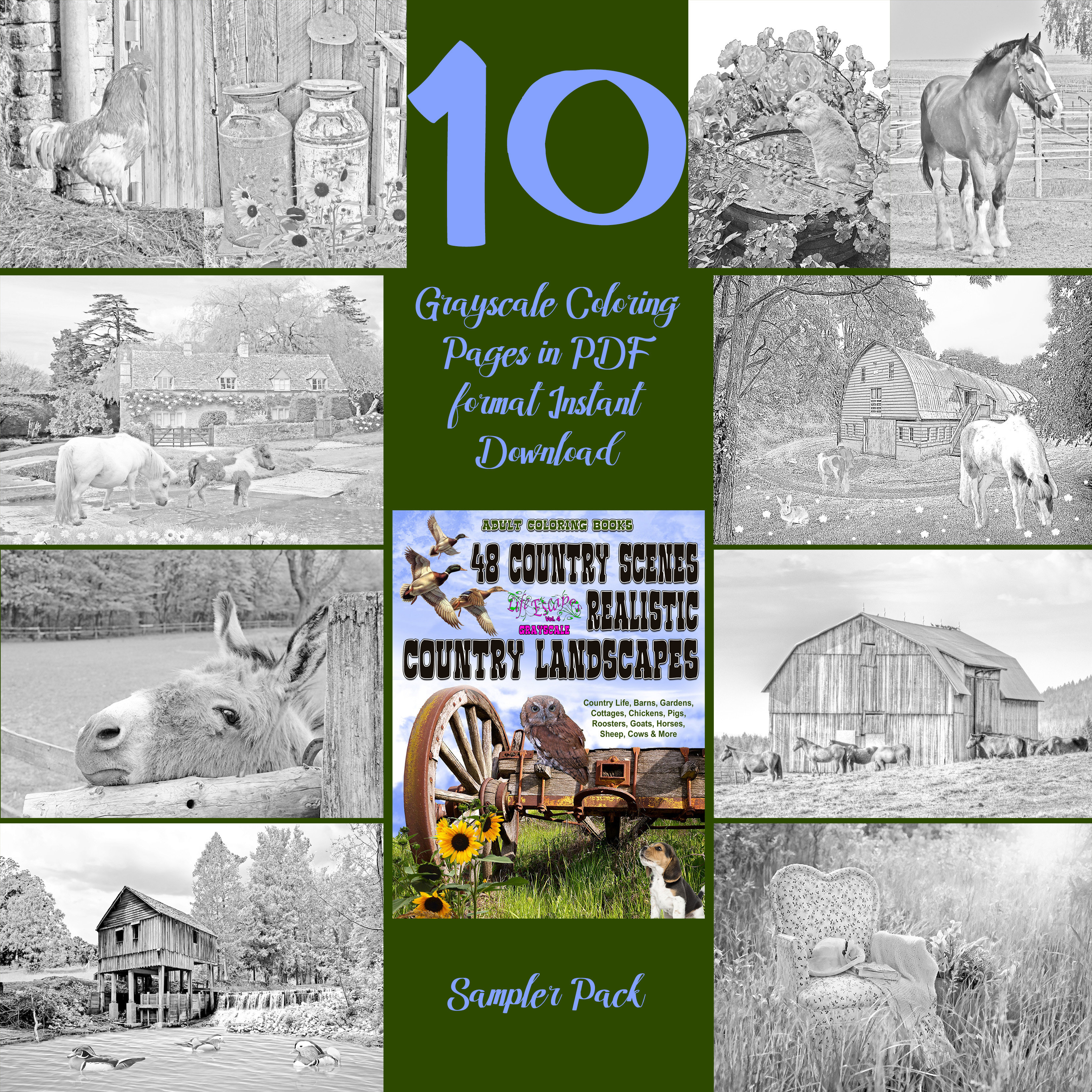 48 Country Scenes Sampler Pack Digital Download | Sampler Packs ...