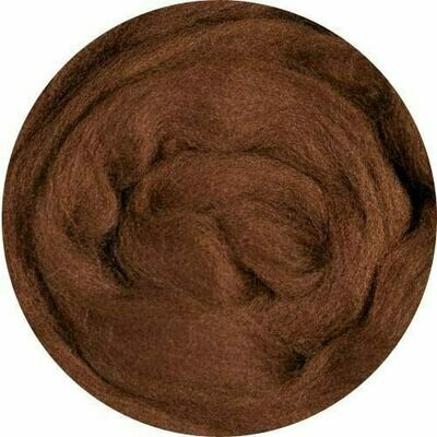 NZ Corriedale Wool Roving -- NEW! Brown
