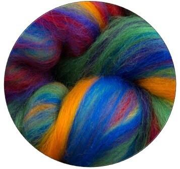 Fine Merino Wool Roving -- NEW! Rainbow