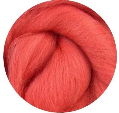 NEW! NZ Corriedale Wool Roving -- Coral
