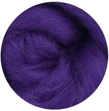NZ Corriedale Wool Roving -- Deep Purple