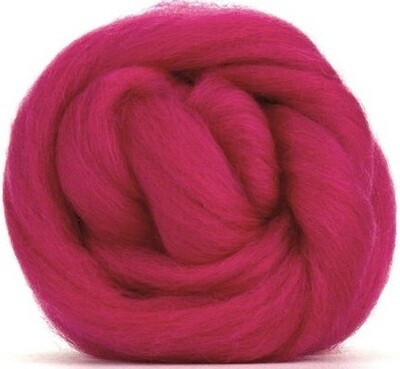 NZ Corriedale Wool Roving --  Hot Pink