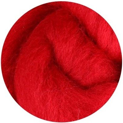 NZ Corriedale Wool Roving -- 37. Red