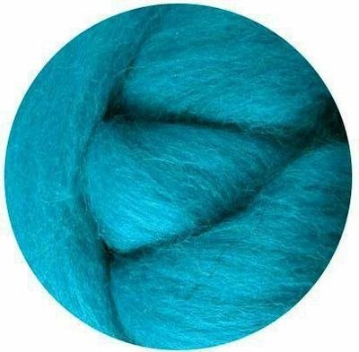 NZ Corriedale Wool Roving -- Turquoise