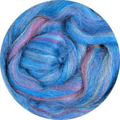 Merino Blended Color Wool Roving -- Blue