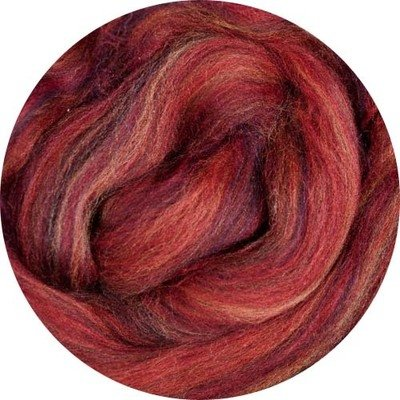 Merino Blended Color Wool Roving -- Red