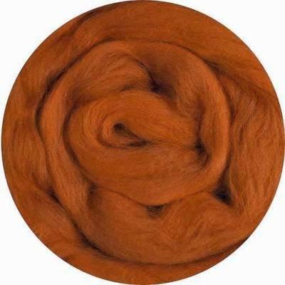 Fine Merino Wool Roving -- Rust