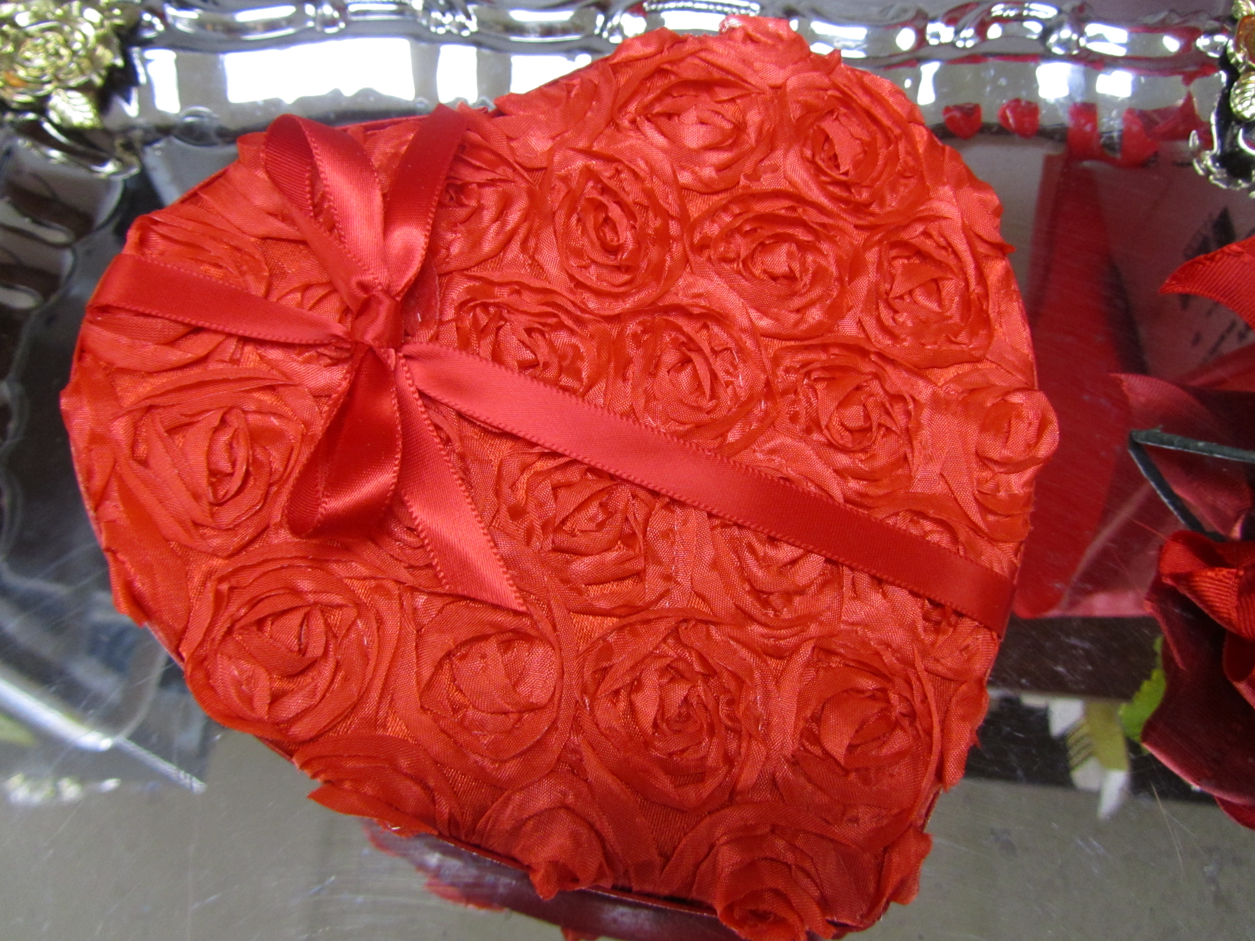 Satin Rose Valentine Candy Box - Medium 614