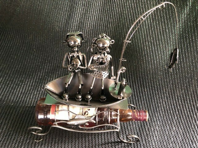 Nuts & Bolts - Fishing Couple In Boat Wine Bottle Holder