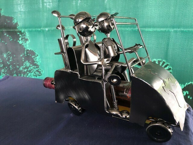 Nuts & Bolts - Golf Buggy & Two Golfers Wine Bottle Holder