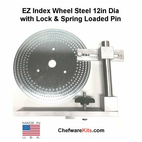 EZ Index Segmented Wheel Steel 10in Dia with 1in hole and Locking Post with Spring Loaded Pin for Woodturning