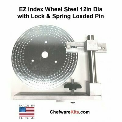 EZ Index Wheel Steel 12in Dia 1-1/4in Center Hole with Lock and Spring Loaded Pin  for Woodturning (Dividing Disk)