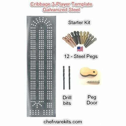 Cribbage Board 3-lane Steel Template Starter Kit (Woodworking Kit) Made in the USA