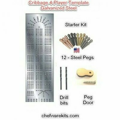Cribbage Board 4-lane Steel Template Starter Kit (Woodworking Kit) Made in the USA