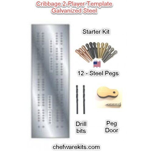 Cribbage Board 2-lane Steel Template Starter Kit (Woodworking Kit) Made in the USA