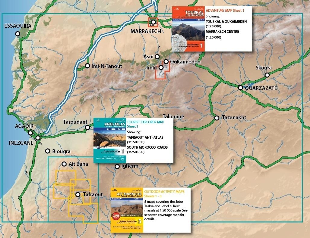 Tourist Explorer Map AntiAtlas Morocco South