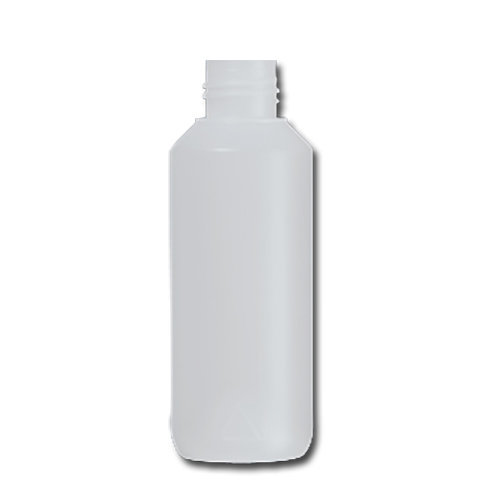 HDPE Industrial natural round bottle 100ml 22/410 including cap 1735