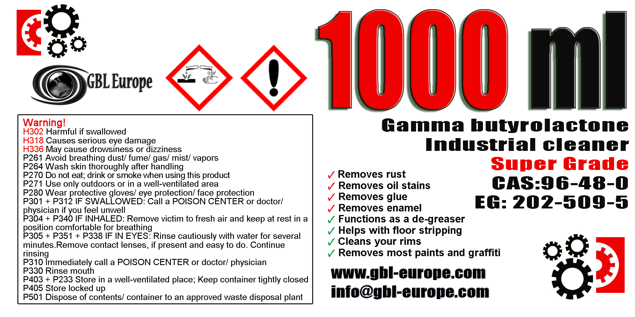 Industrial Cleaner 1.000 ml Super Grade Quality +1x 500ml Super Grade FREE! 00200 HS Code 29322020