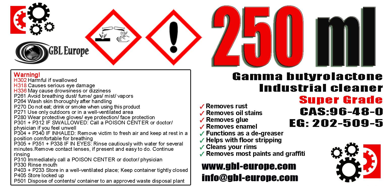 Industrial Cleaner 250 ml Super Grade Quality +1x 500ml Super Grade FREE! 00180 HS Code 29322020
