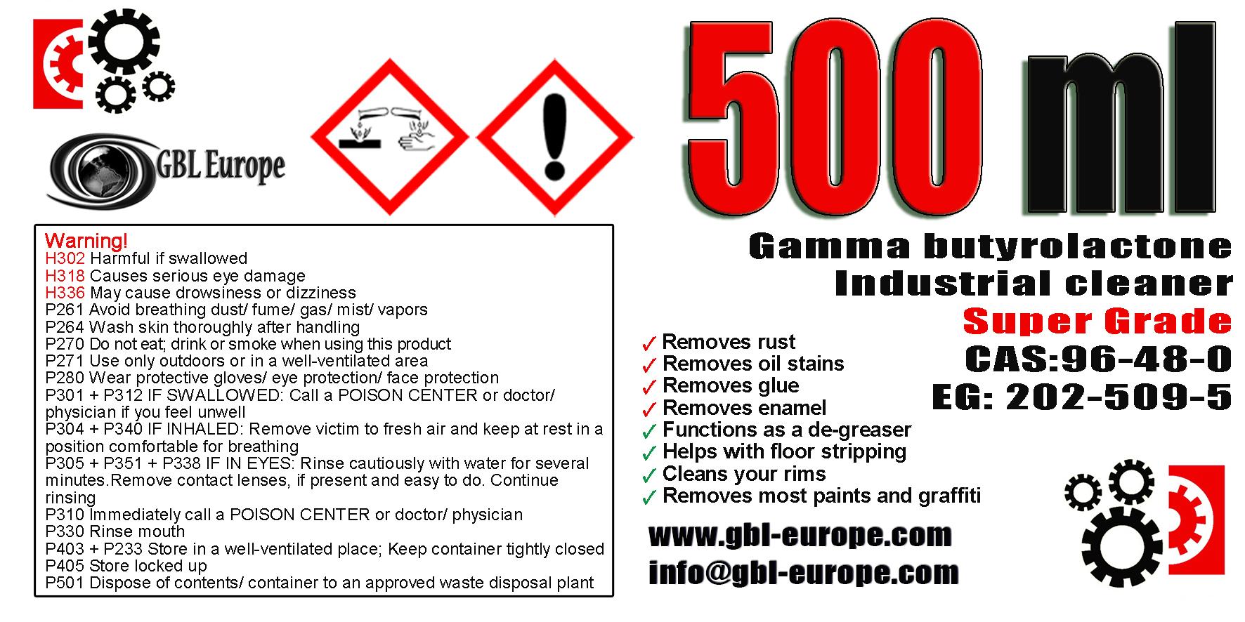 Industrial Cleaner 500 ml Super Grade Quality +1x 500ml Super Grade FREE! 002255 HS Code 29322020