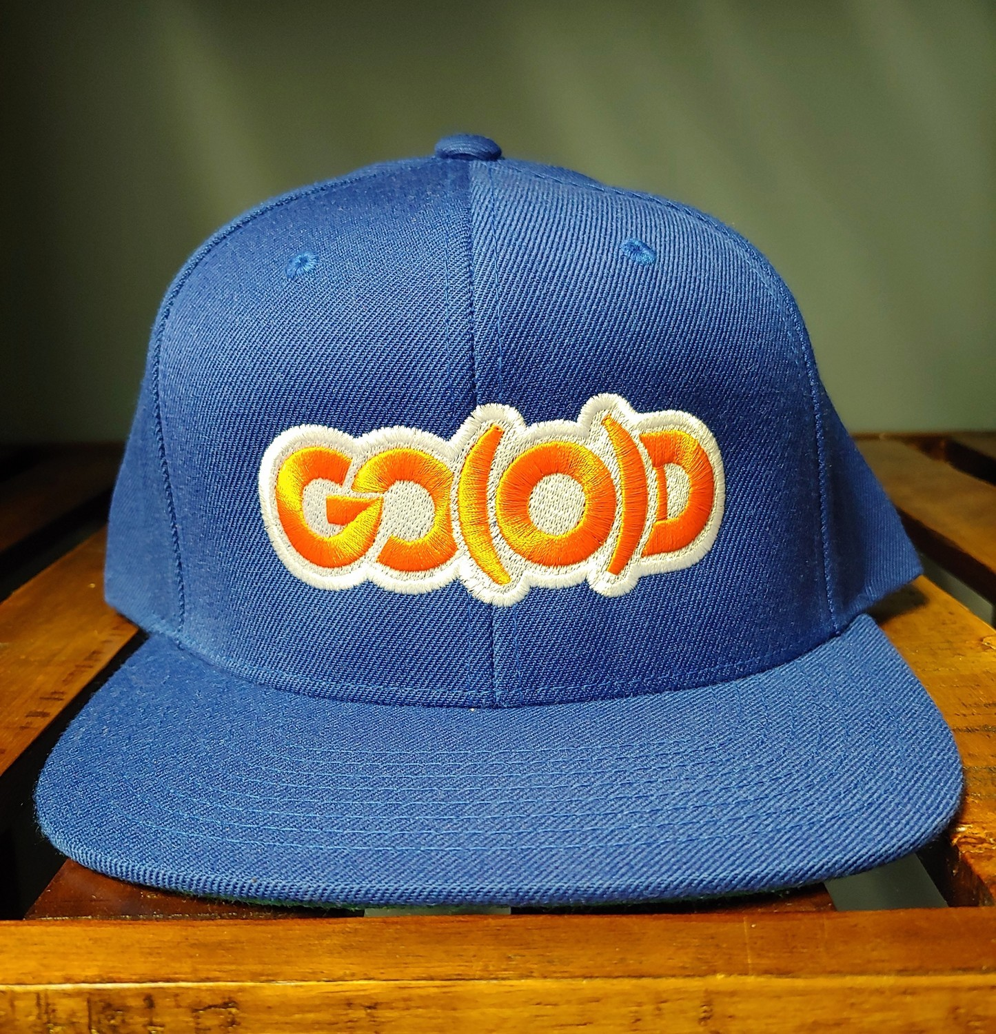 GO(O)D Snapback-royal/orange/white