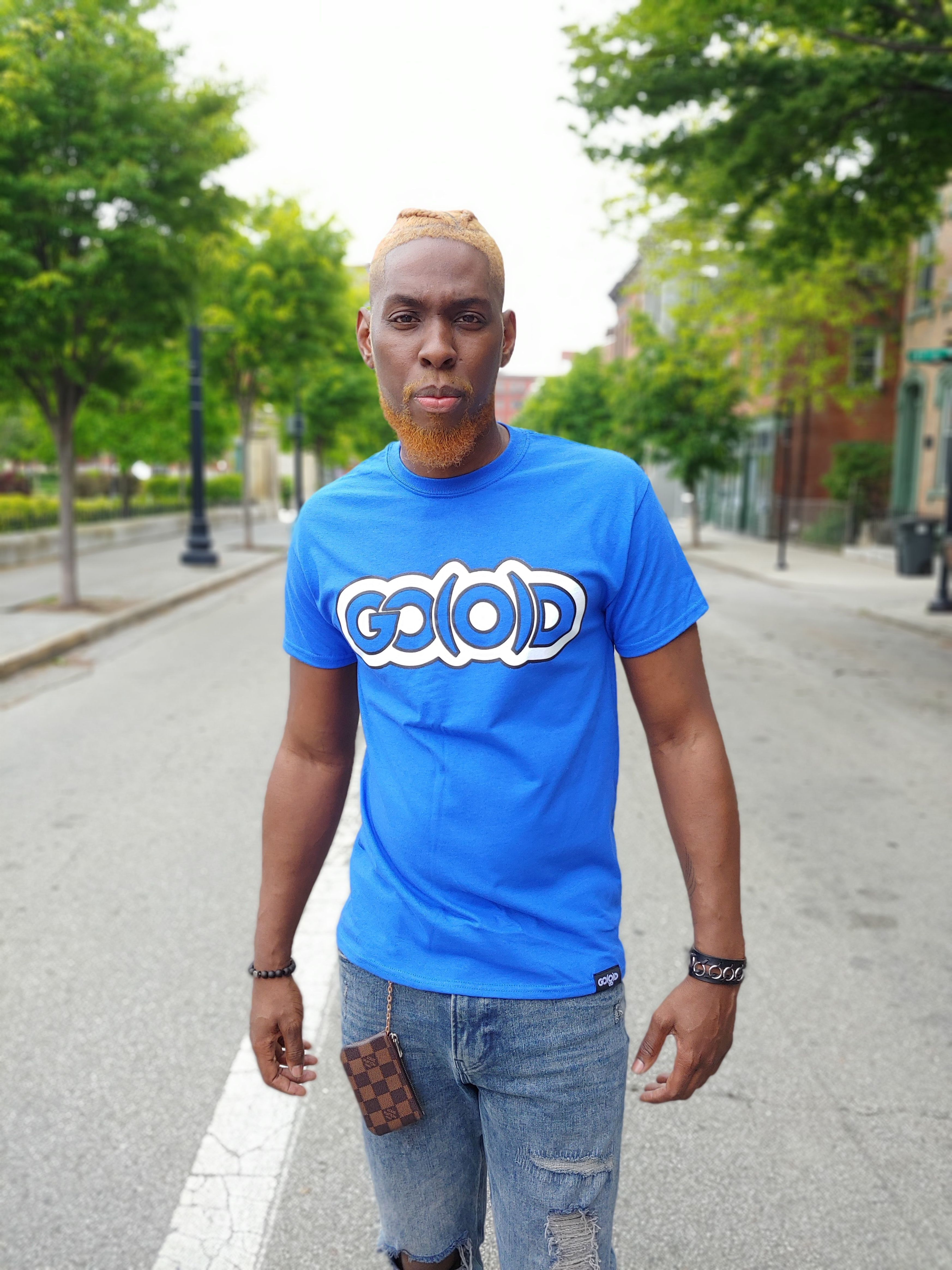 GO(O)D Classic Outline tee-royal/white/black trim 00208