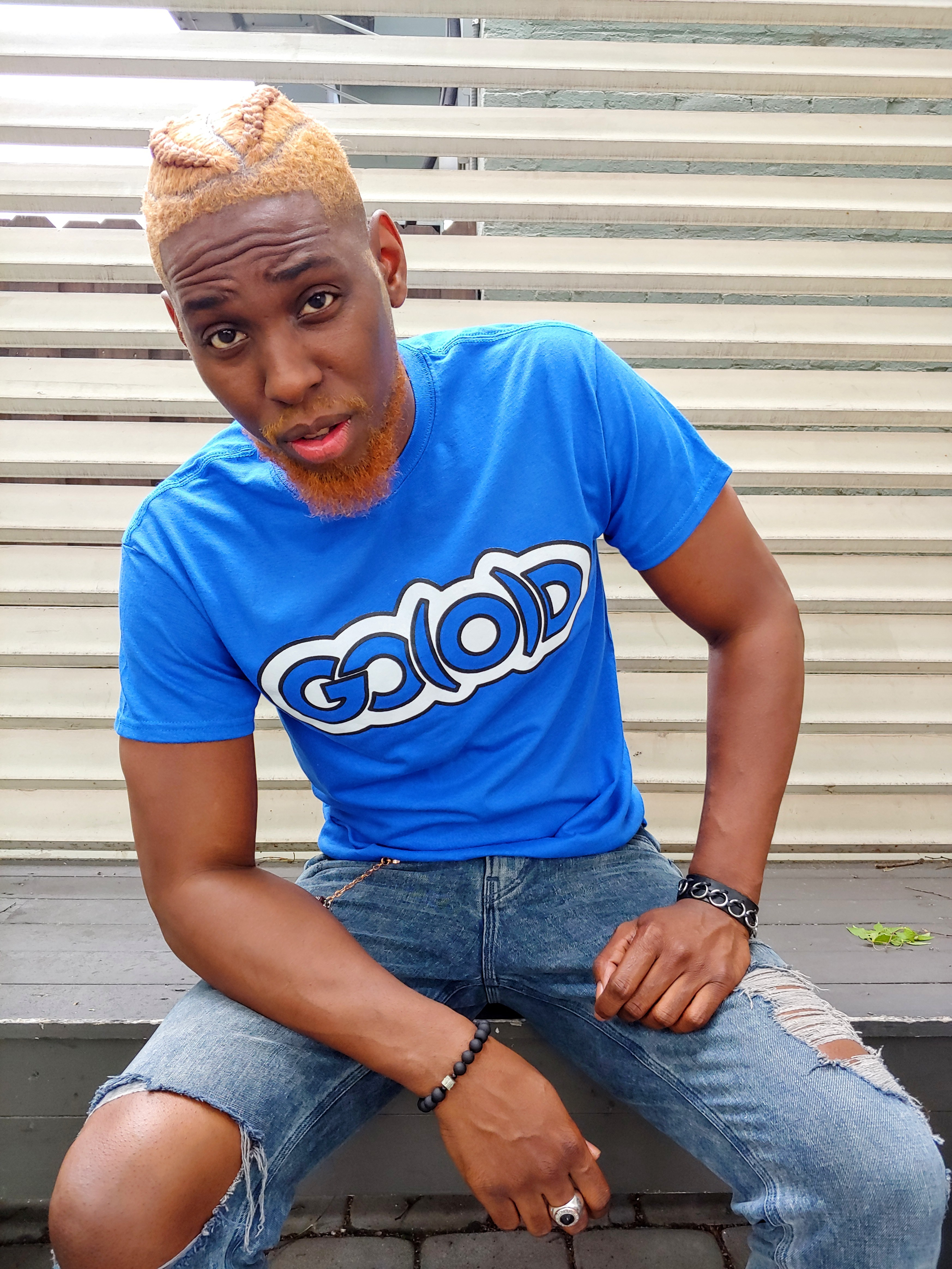 GO(O)D Classic Outline tee-royal/white/black trim
