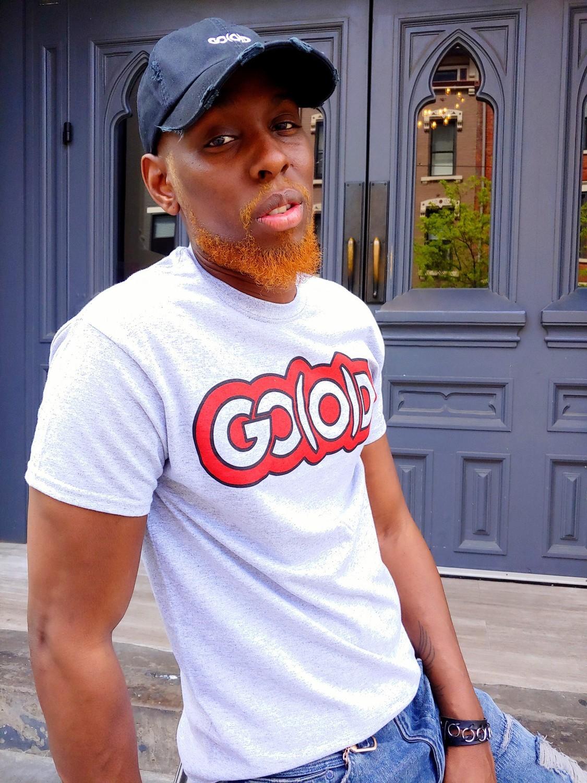 GO(O)D Classic Outline tee-heather gray/red/black trim