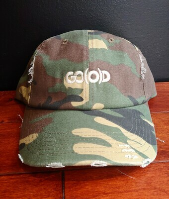 *SOLD OUT* GO(O)D Distressed Dad Hat-camo/khaki