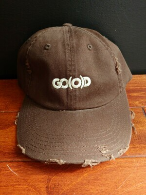 GO(O)D Distressed Dad Hat-Chocolate/tan